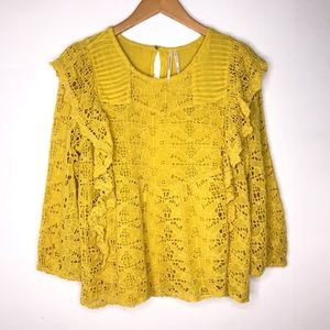 Anthropologie Yellow Lace Ruffled Blouse